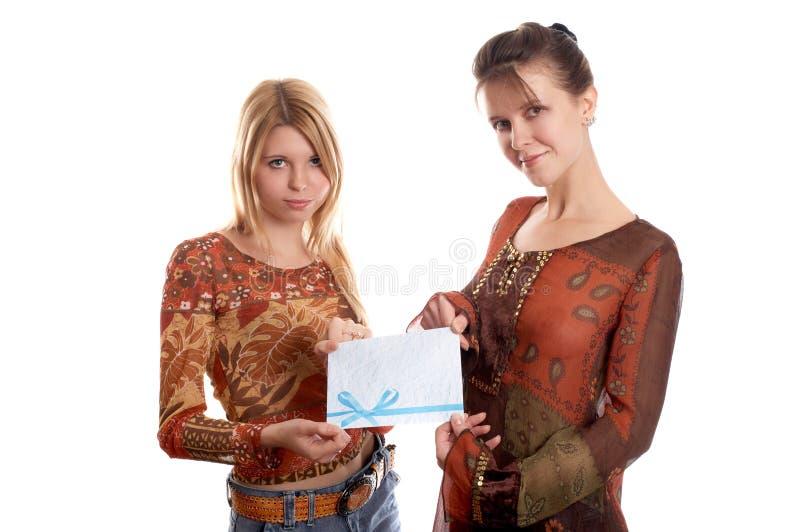 Download Meninas com envelope foto de stock. Imagem de letra, forma - 12802326