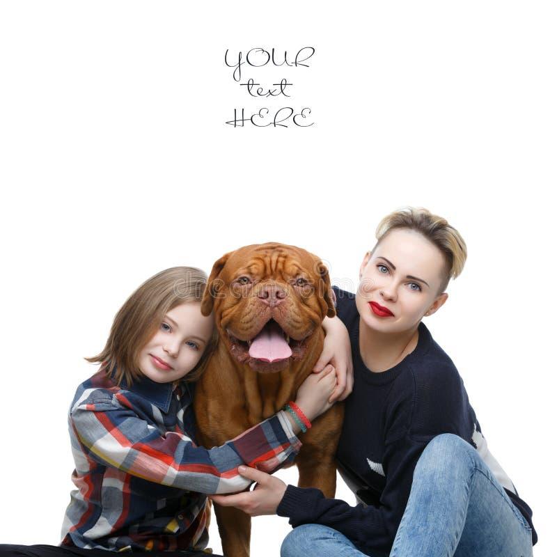 Meninas com o cão marrom grande imagens de stock