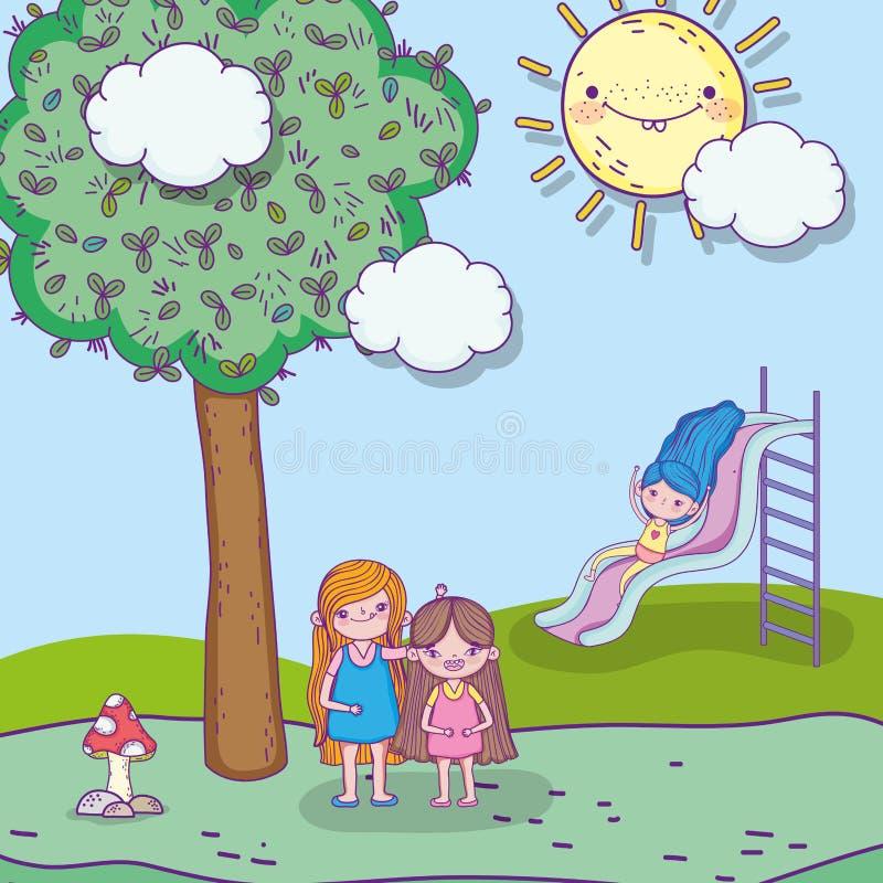 Meninas da beleza que jogam com slider e árvore ilustração do vetor
