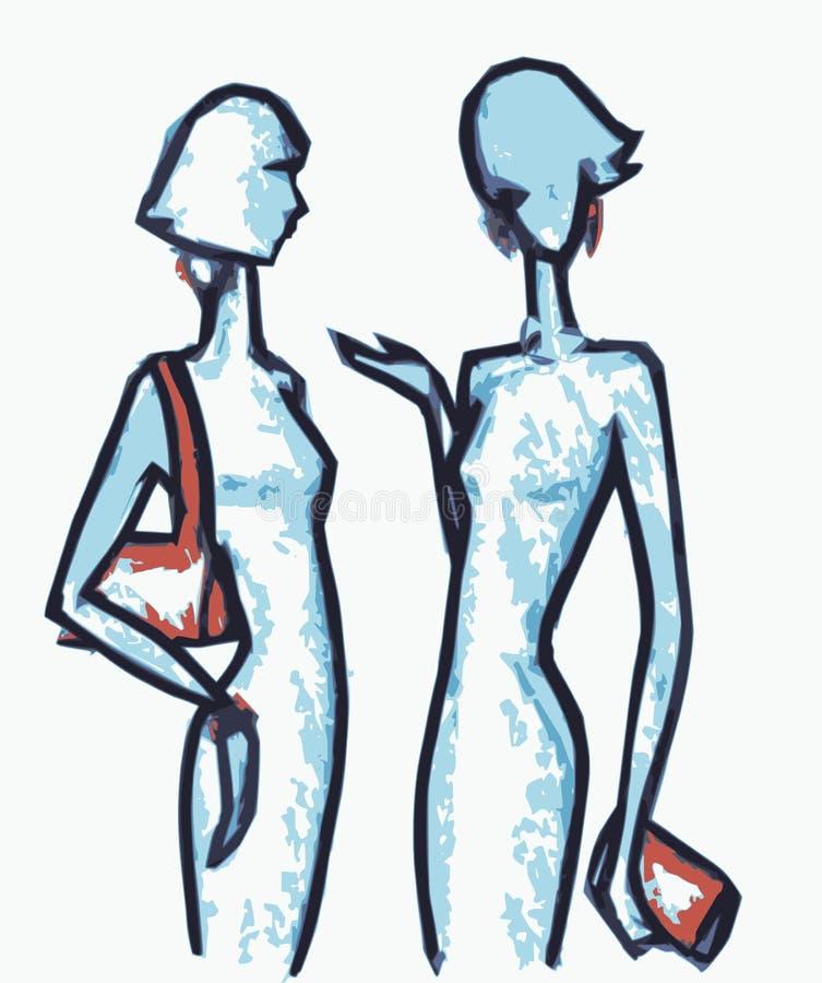 Meninas da bisbolhetice ilustração stock