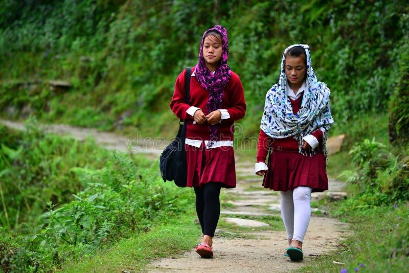 Meninas da escola que vão à escola nos Himalayas imagens de stock royalty free