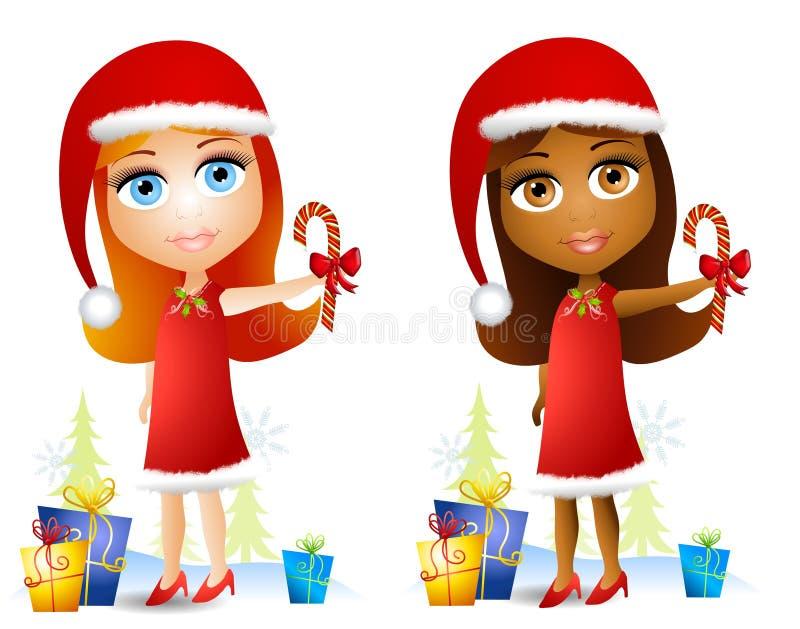 Meninas da face da boneca dos desenhos animados ilustração royalty free
