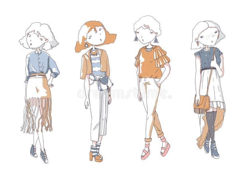 Meninas da forma ajustadas Entregue a ilustração criativa tirada com as meninas bonitas da cor na roupa ocasional com sacos, sapa ilustração royalty free