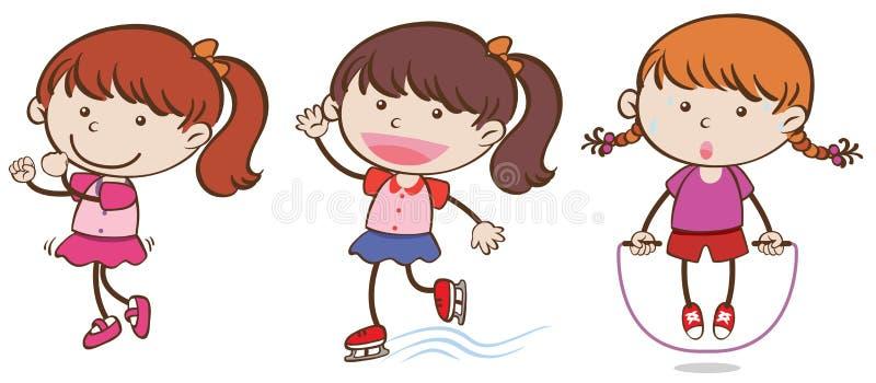 Meninas da garatuja que fazem atividades do esporte ilustração do vetor