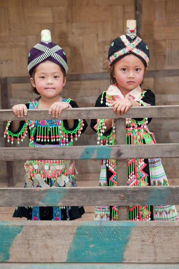 Meninas de Ásia Hmong fotografia de stock