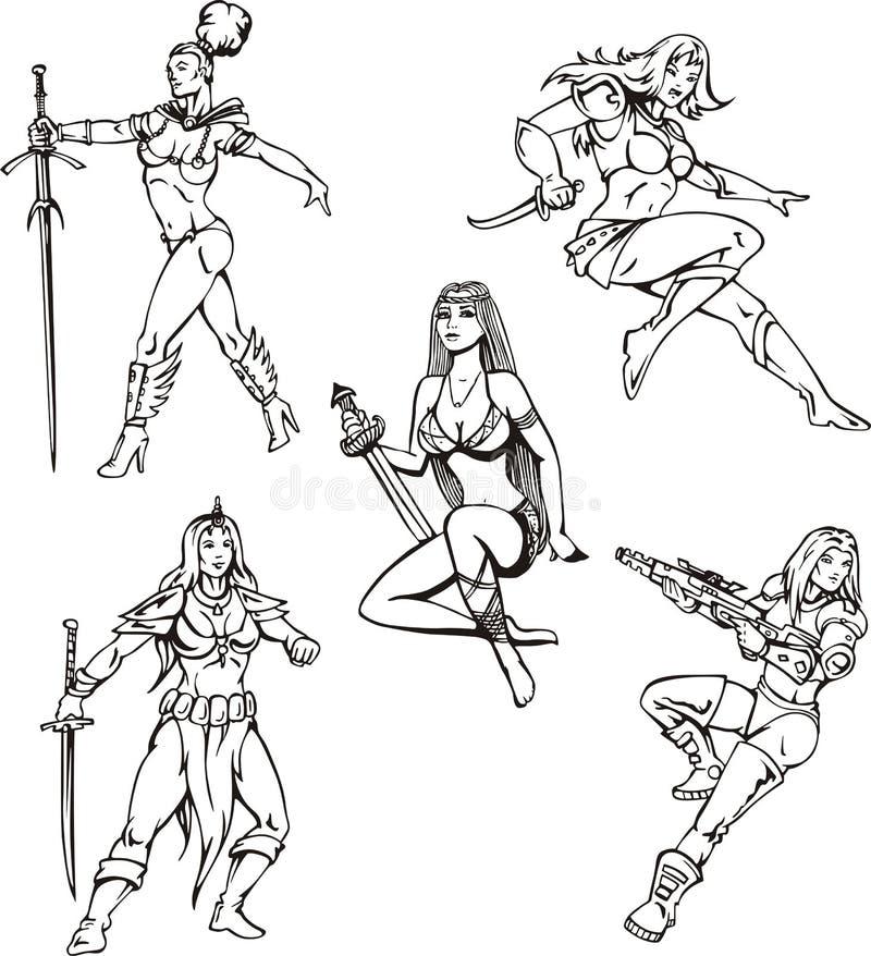 Meninas de Amazon ilustração do vetor