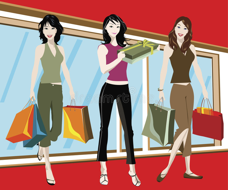 Meninas de compra ilustração stock