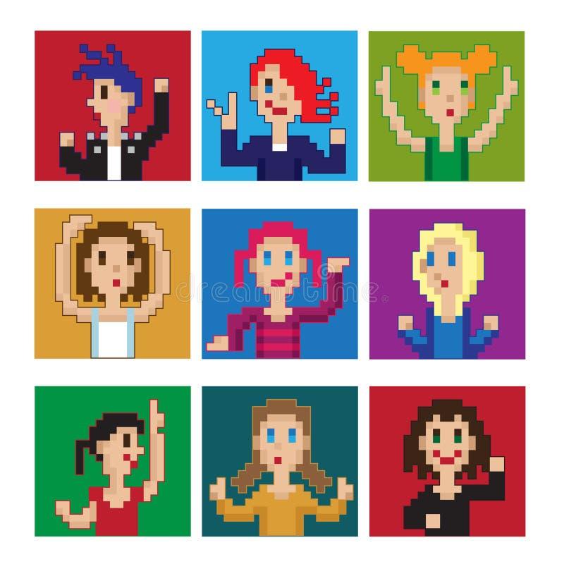 Meninas de dança do pixel imagens de stock royalty free