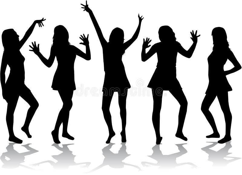 Meninas de dança - silhuetas. ilustração do vetor