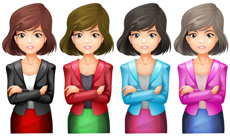 Meninas de escritório em uniformes diferentes ilustração royalty free