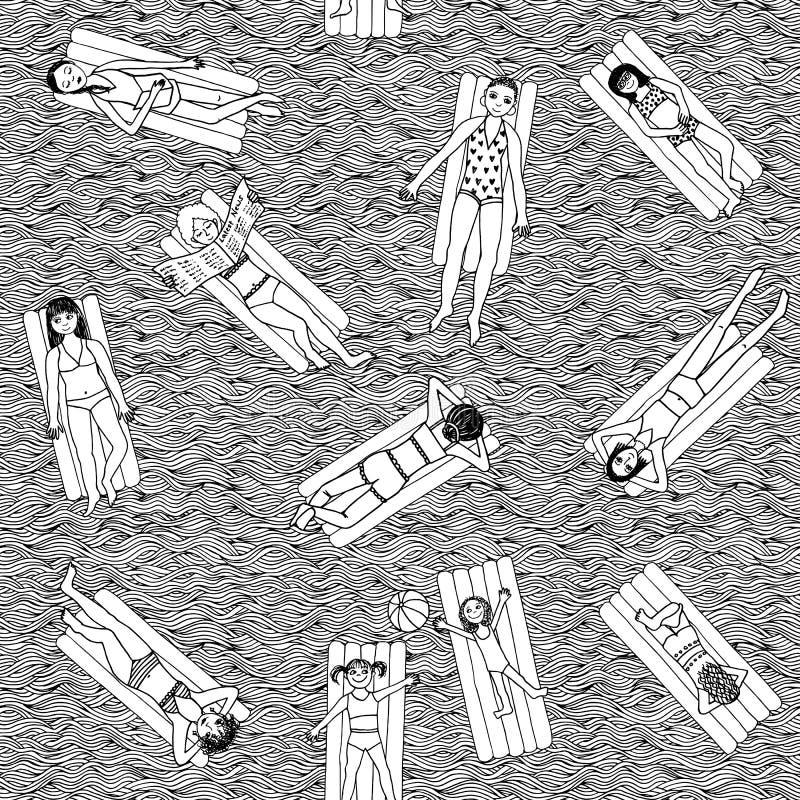 Meninas de flutuação ilustração stock