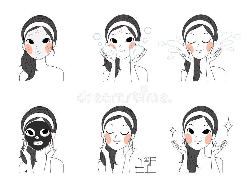 Meninas de limpeza faciais da ilustração da cara da etapa ilustração do vetor