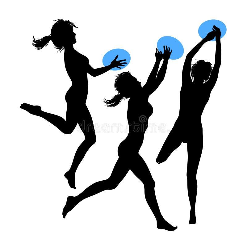 Meninas de salto novas, silhueta ilustração do vetor