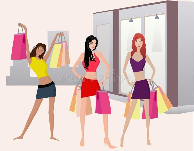 Meninas de Shoping - illustt do vetor