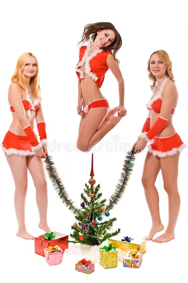 Meninas de vista bonitas do ajudante de Santa imagens de stock