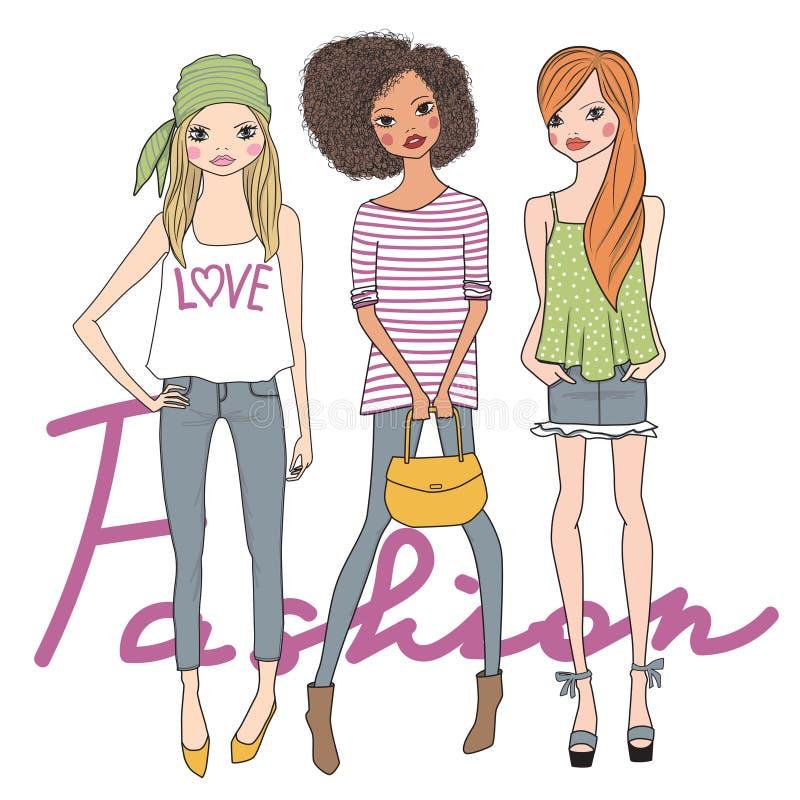Meninas do doce da forma ilustração royalty free
