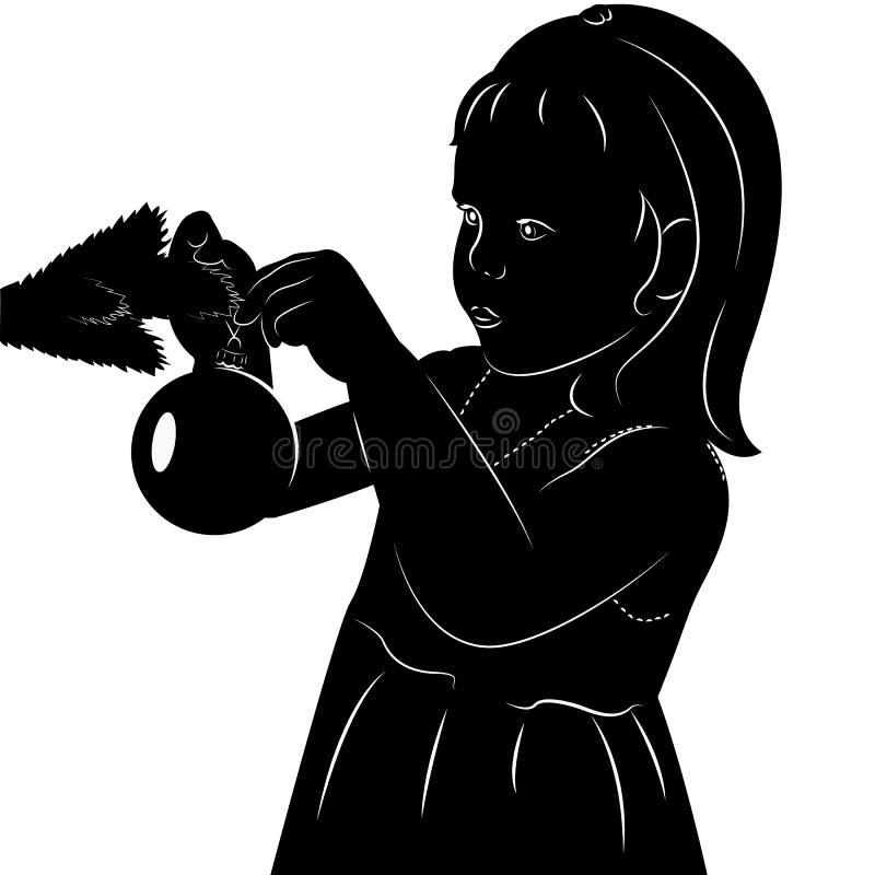Meninas do estêncil com bola do Natal ilustração do vetor