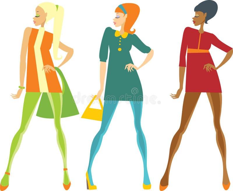 Meninas do estilo dos anos sessenta ilustração do vetor