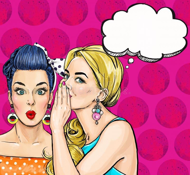 Meninas do pop art com bolha do discurso Convite do partido Cartão do aniversário Cartaz da propaganda do vintage Mulher cômica ilustração stock