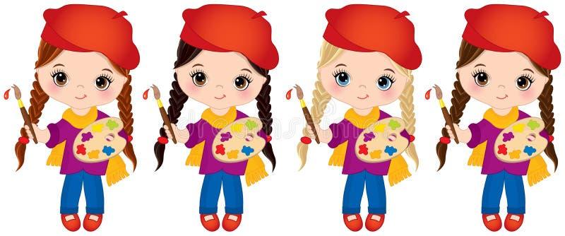 Meninas do vetor com as escovas da paleta e de pintura Artistas pequenos do vetor ilustração royalty free