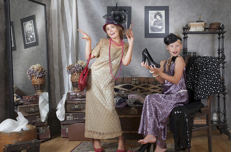 Meninas do vintage fotografia de stock royalty free