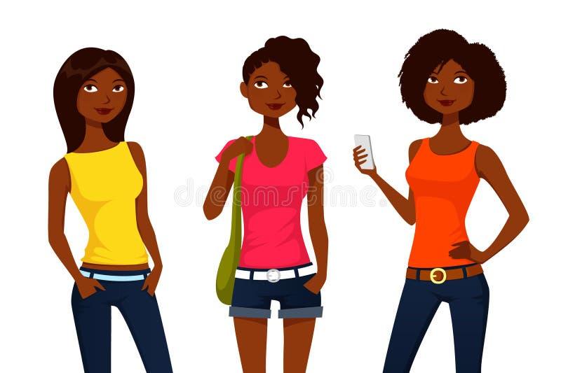 Meninas dos desenhos animados na roupa do verão ilustração do vetor