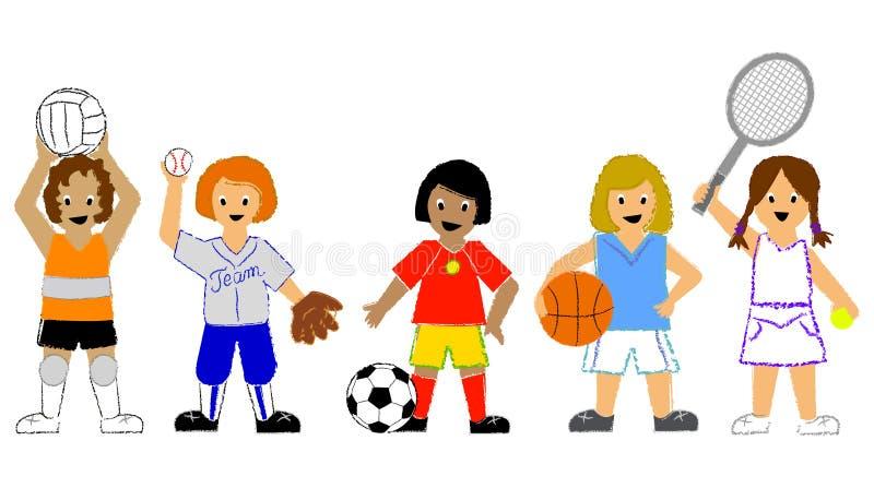 Meninas dos esportes ilustração royalty free