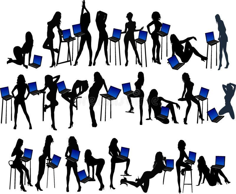 Meninas e computador portátil - ilustração do vetor ilustração stock