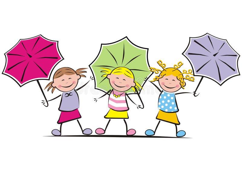 Meninas e guarda-chuva ilustração royalty free