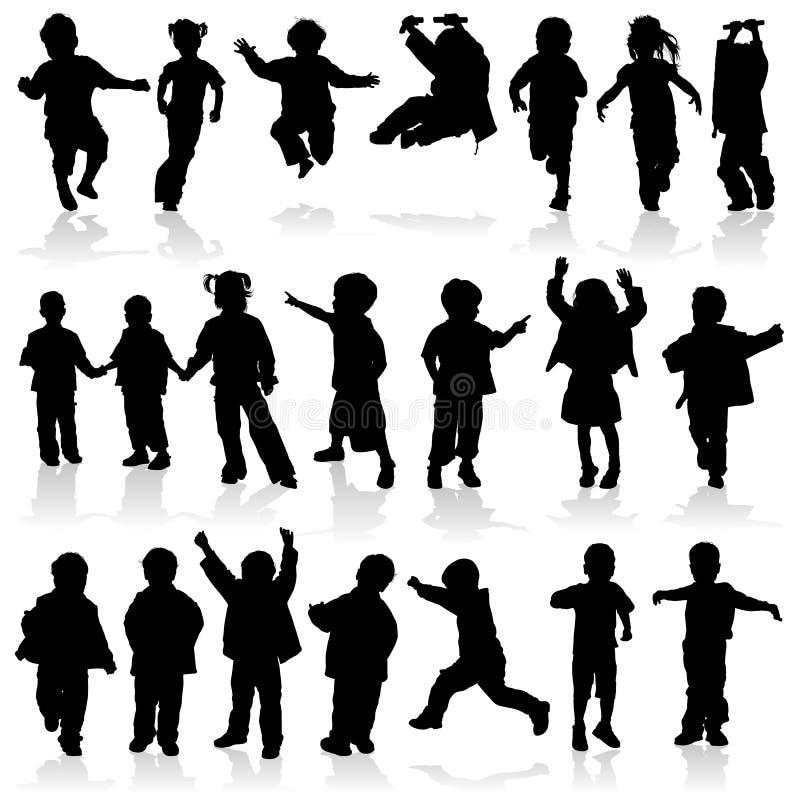 Meninas e meninos da silhueta do vetor ilustração do vetor