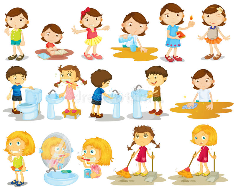 Meninas e meninos que fazem tarefas ilustração stock