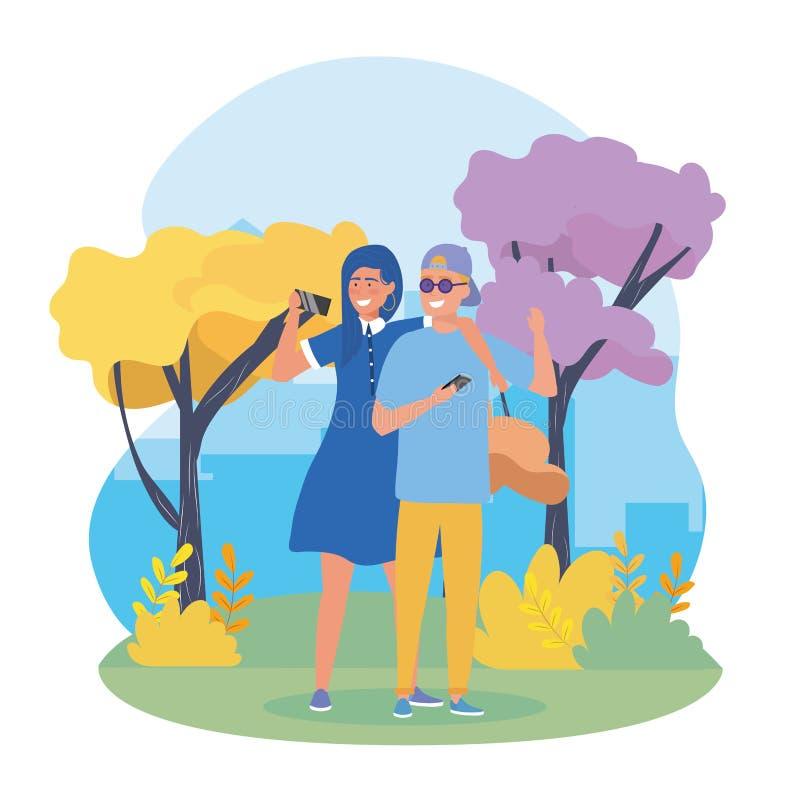 Meninas e pares do menino com roupa ocasional ilustração stock