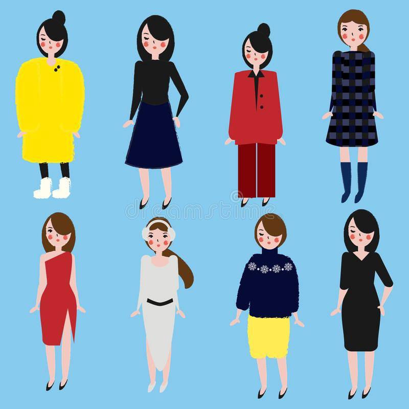 Meninas elegantes ajustadas Mulheres no código de vestimenta diferente Fêmea no inverno e na roupa do escritório Mão na moda esti ilustração royalty free