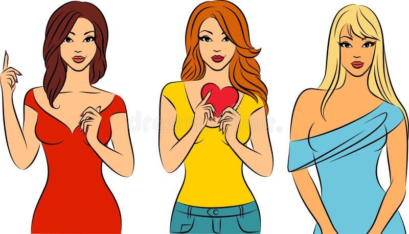 Meninas elegantes bonitas ilustração royalty free
