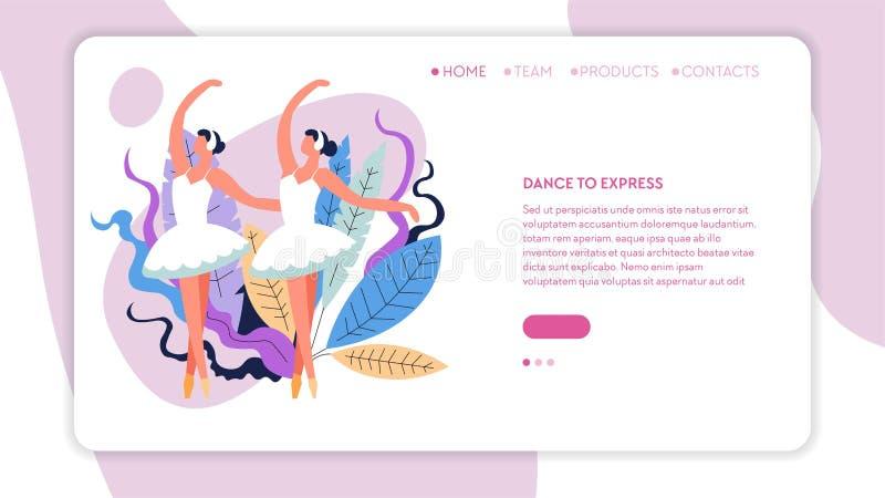 Meninas em dançarinos de bailado do tutu no página da web de dança da posição ilustração do vetor