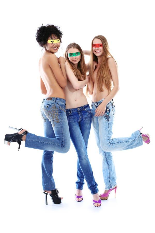 Meninas em topless imagem de stock