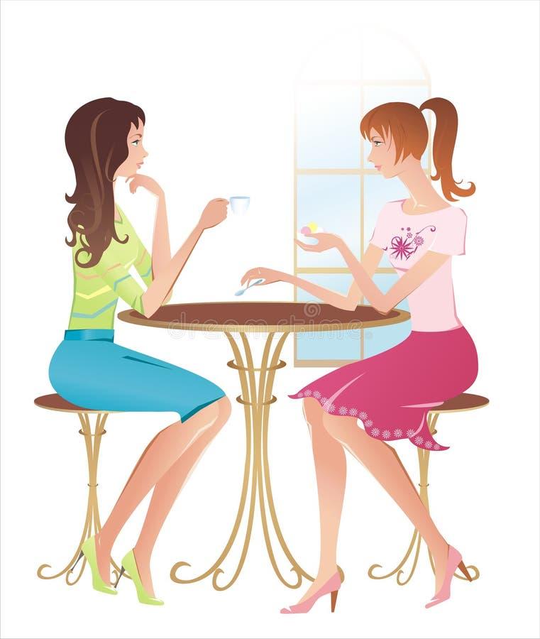 Meninas em um café ilustração royalty free