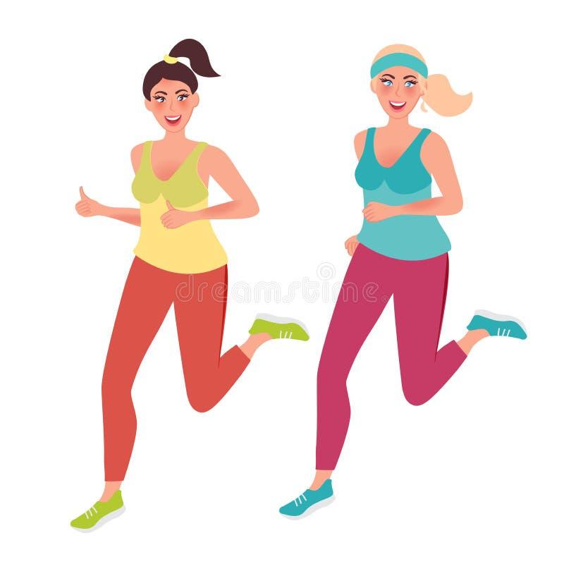 Meninas em um movimento da manhã Esportes, corredor, aptidão Estilo de vida saudável Gráficos de vetor ilustração stock