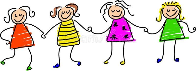Meninas felizes ilustração royalty free