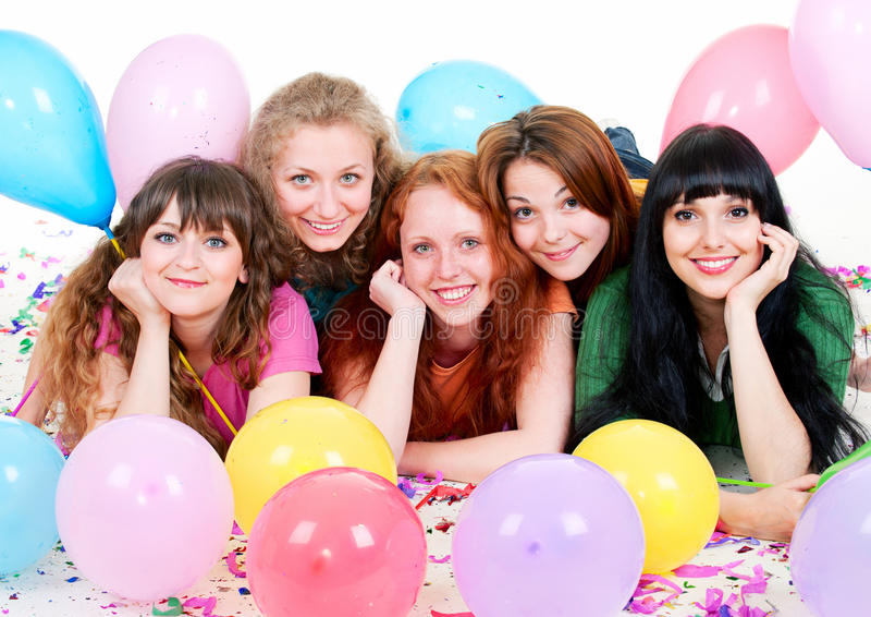 Meninas felizes com balões fotografia de stock royalty free