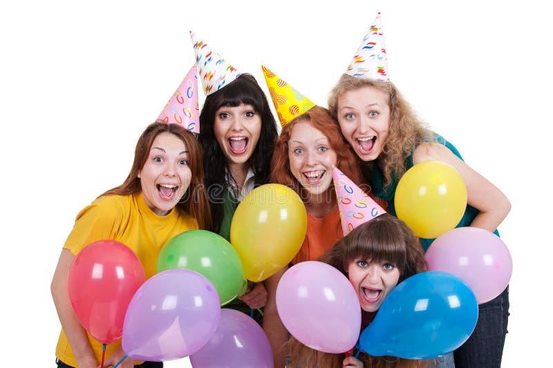 Meninas felizes com balões variegated imagem de stock royalty free