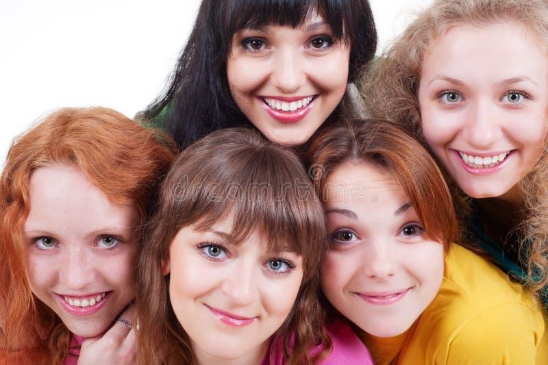 Meninas felizes do smiley foto de stock