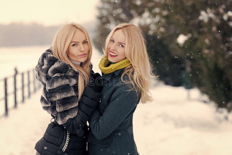 Meninas felizes que apreciam o dia de inverno foto de stock