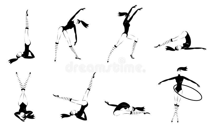 Meninas ginásticas monocromáticas ajustadas ilustração stock