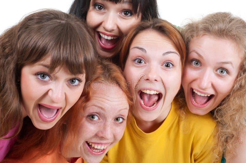 Meninas gritando felizes fotos de stock royalty free
