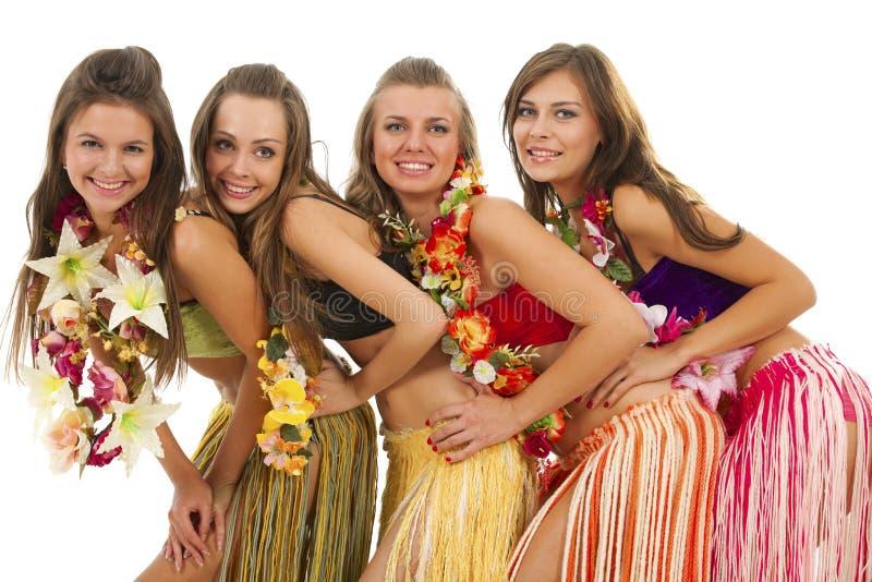 Meninas havaianas do dançarino de Hula fotos de stock