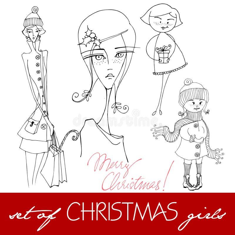 Meninas ilustradas do Natal ilustração royalty free