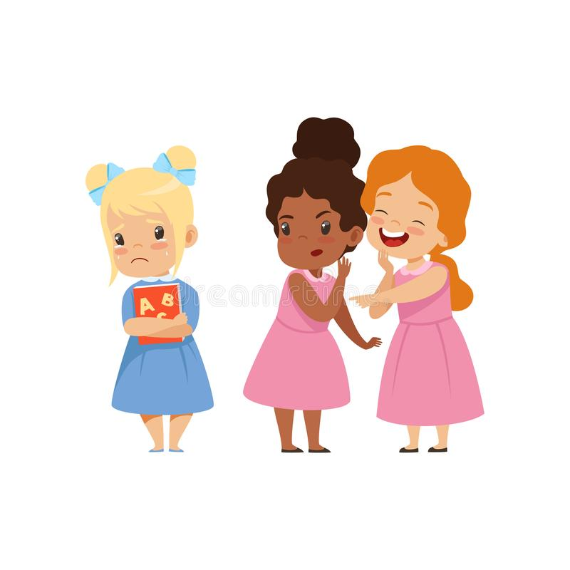 Meninas impertinentes que zombam outras, o comportamento mau, conflito entre crianças, zombaria e tiranizando na ilustração do ve ilustração stock