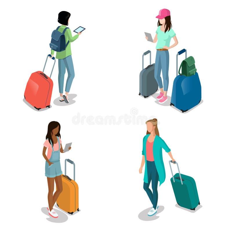 Meninas isométricas lisas com smartph da mala de viagem da bagagem ilustração royalty free