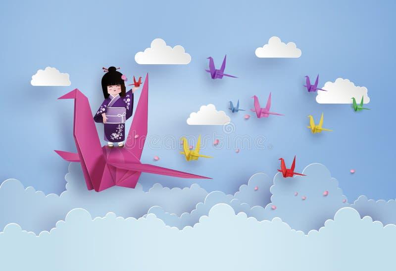 Meninas japonesas que vestem o voo nacional do vestido e do pássaro do origâmi ilustração royalty free